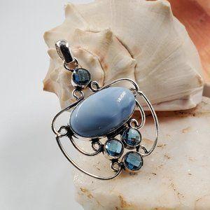 Natural Topaz/Blue Agate Silver Pendant